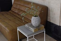 Extra Tall  White Steel Cube w/ Concrete Top - Side Table, N