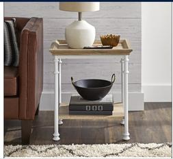 Farmhouse White Metal End Side Table Rustic Wooden Natural A