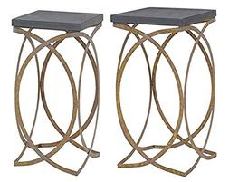 Linon Faux Concrete Top Nesting Table Set in Distressed Gold