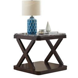 O&K Furniture Faux Marble Top End Table with Storage Shelf f