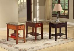 The Room Style Faux Marble Top Drawer Wood Side/End Table in