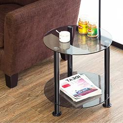 FITUEYS Grey Glass End Table Accent Side Table Coffee Table