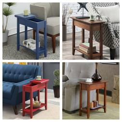 FLIP TOP END TABLE Wood Side Table Storage Multiple Colors