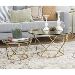 WE Furniture Geometric Glass Nesting Coffee Tables - Gold, G