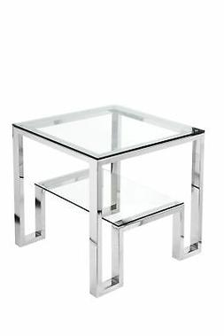 Geometric Metal Framework Side Table with Glass Top and Open
