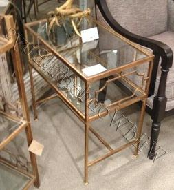 Geometric Side Table Antique Gold Glass Top Iron Accent Neim