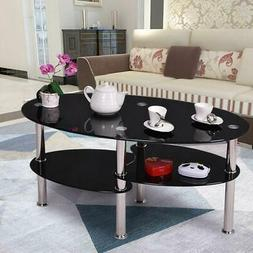 Glass Black Coffee Table Oval Side Shelves Chrome Base Livin