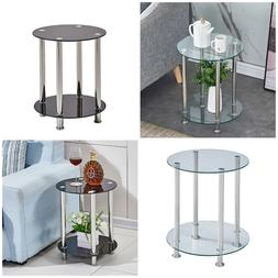 Glass Round Side Table Sofa Bed 2 Tier Coffee Tea Table Livi