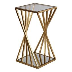 Gold Angle Geometric Square Accent Table   Open Pedestal Col