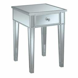 Convenience Concepts Gold Coast Mirrored End Table with Draw