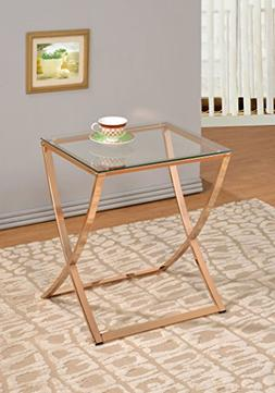 Gold Finish Metal Glass Chair Side End Table