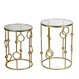 Joveco Gold End Tables with Glass Top. Decorative for Living