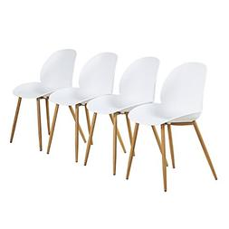 GreenForest Kitchen Chairs White Modern Dining Chair with Mo
