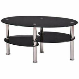 High Quality Oval Side Coffee Table Tempered Glass Shelf Chr