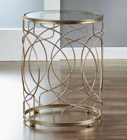 Hollywood Glam Gold Side Table Glass Top Round Accent End Ir