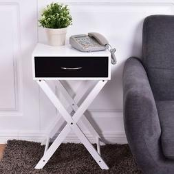 Home Campaign Style MDF X-Shape Accent Side End Table Kitche