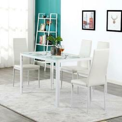 Home Kitchen Durable 5 Piece Set Glass Table 4 Dining Side C
