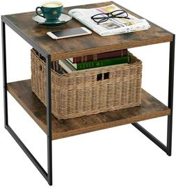 HOMFA Industrial End Table, 20 Inch Square Side Table Night