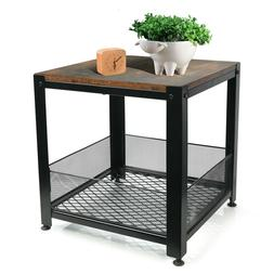 Industrial End Table with Storage Shelf Rustic Square Side T