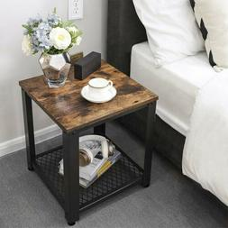 Industrial End Tables w/Storage Shelf Rustic Side Table for