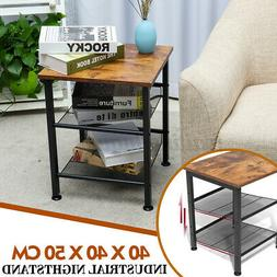 Industrial Side End Table Sofa Accent Bedside Storage Living