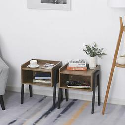 Industrial Wood Small Side Table, Set of 2, with Tower Stack