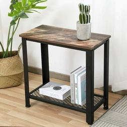 Industrial Sofa Side End Table Accent Table Nightstand Shelf