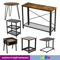 Industrial Style Side Table Home End Table Vintage Metal Mes