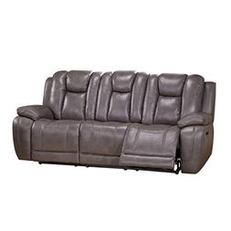 Coja by Sofa4life Kenway Leather Power Sofa Recliner, Gray