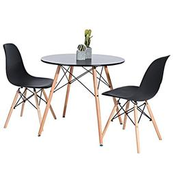 Kitchen Dining Table Round Coffee Table Black Collection Mod