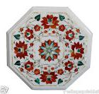 "12"" White Marble Side Table Top Carnelian Marquetry Floral H"