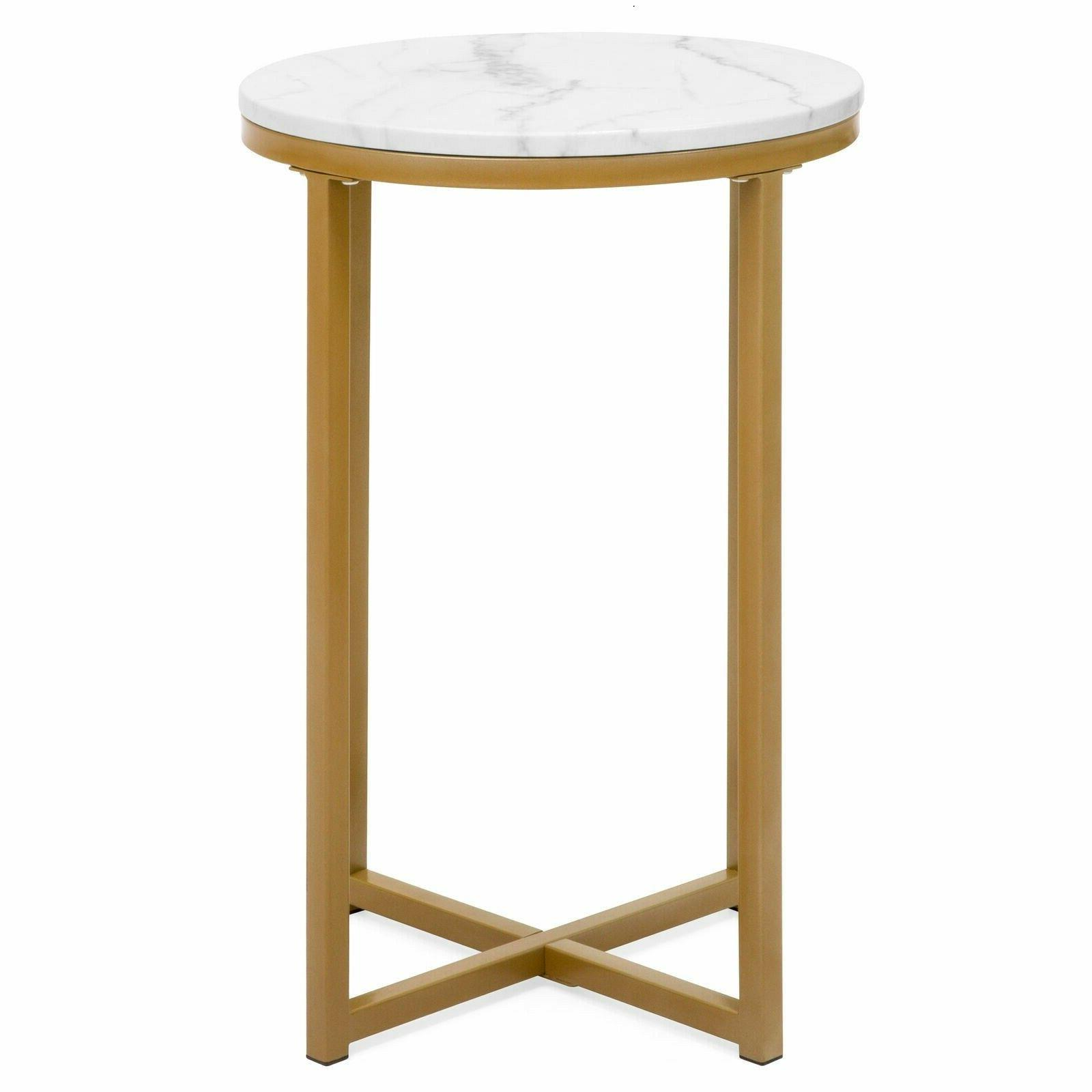 """16"""" Round Metal Side Coffee Table Faux Marble Living"""