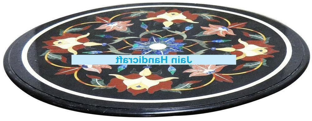 """18"""" black inlay round marble table top center corner side ho"""