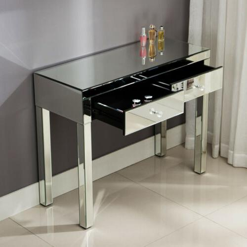 2 Drawer Mirrored Silver Vanity Table