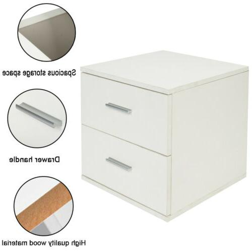 2 Drawers Nightstand Storage Wood Furniture Table