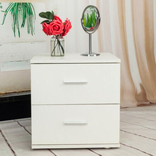 2 drawers nightstand storage wood home furniture