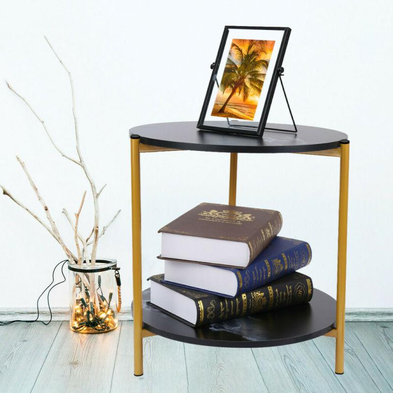 2 Side Table End Square/Round Storage Living Room