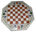 2'x2' Marble Side Coffee Chess Table Top Inlaid Mosaic Flora