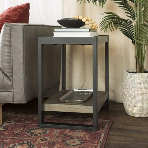 24 industrial side end table driftwood