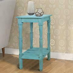 29 Inch Foldable Mango Wood Side Table with Slatted Bottom S