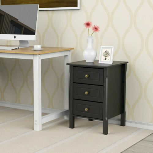 Nightstand Accent End Side Bedside Living Room 3 Drawers