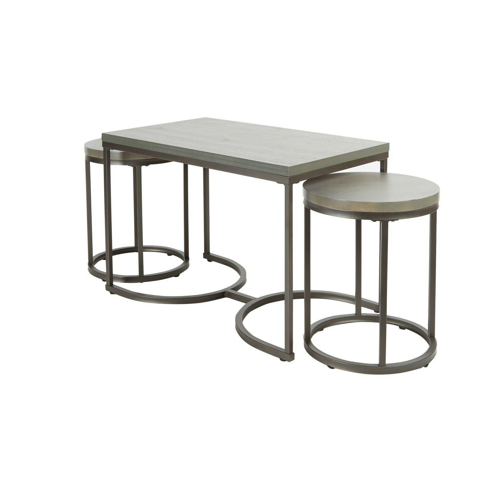 3 piece table set round nesting table end Side Tables modern
