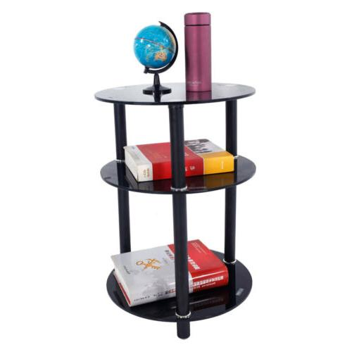 3-tier Round End Table Side Stand Organizer Home Storage Dis