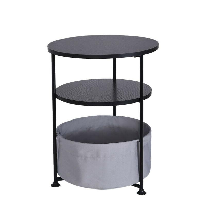 Round Wood Side Table With Fabric Black Three