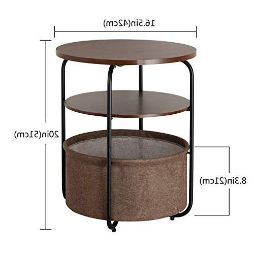 Lifewit 3-Tier Side End Table Nightstand Basket, Table Small Condo/Apartment Living, Modern Collection, 16.5 20