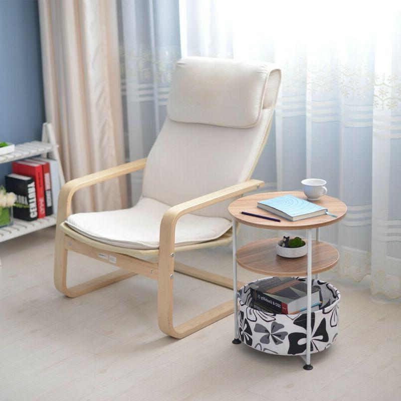 Modern Round Coffee Table Small Sofa Side End Side Wood Legs