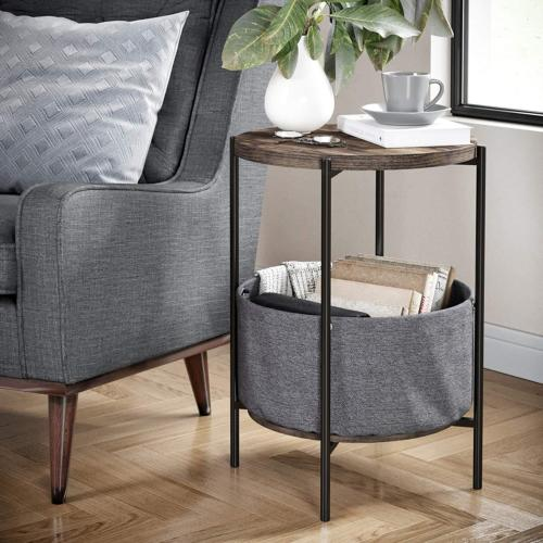 Nathan James 32201 Oraa Round Wood Side Table with Fabric St