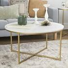 """WE Furniture 36"""" Coffee Table X-Base - Faux Marble/Gold"""
