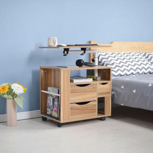 Over Bed Stand Desk Table With Wheels Laptop Computer Tray R