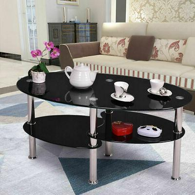 49new tempered glass oval side coffee table